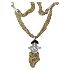 Vintage 18 K Yellow Gold Necklace Pendant Diamond Rock Crystal Onyx by Tännler