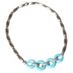 Turquoise and Diamonds Necklace 18 Kt White Gold
