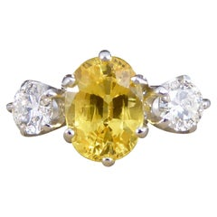 Contemporary 1.84ct Yellow Sapphire and Diamond Three Stone Ring in Platinum