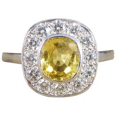 Contemporary Art Deco Style 1.20ct Yellow Sapphire Diamond Cluster Ring in Plat
