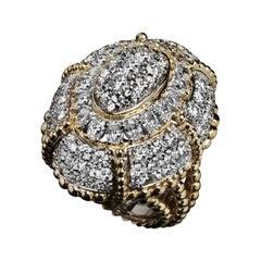 Veschetti 18 Kt White and Yellow Gold Diamond Cocktail Ring