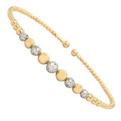 New Gabriel & Co Bujukan Diamond Graduated Bead Cuff Bracelet in 14K Yellow Gold