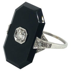 18 Karat White Gold Black Onyx and Old-Cut Diamonds Art Deco Ring