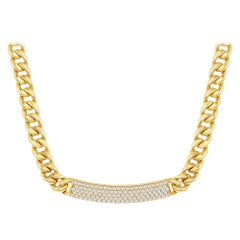 18K Yellow Gold Cuban Link ID Necklace