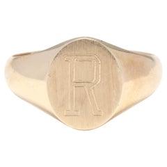 14K R Signet Ring
