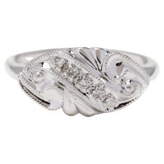 14KT White Gold & Diamond Horizontal Navette Ring