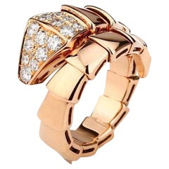 Bulgari Rose Gold Diamond Serpenti Ring Size L