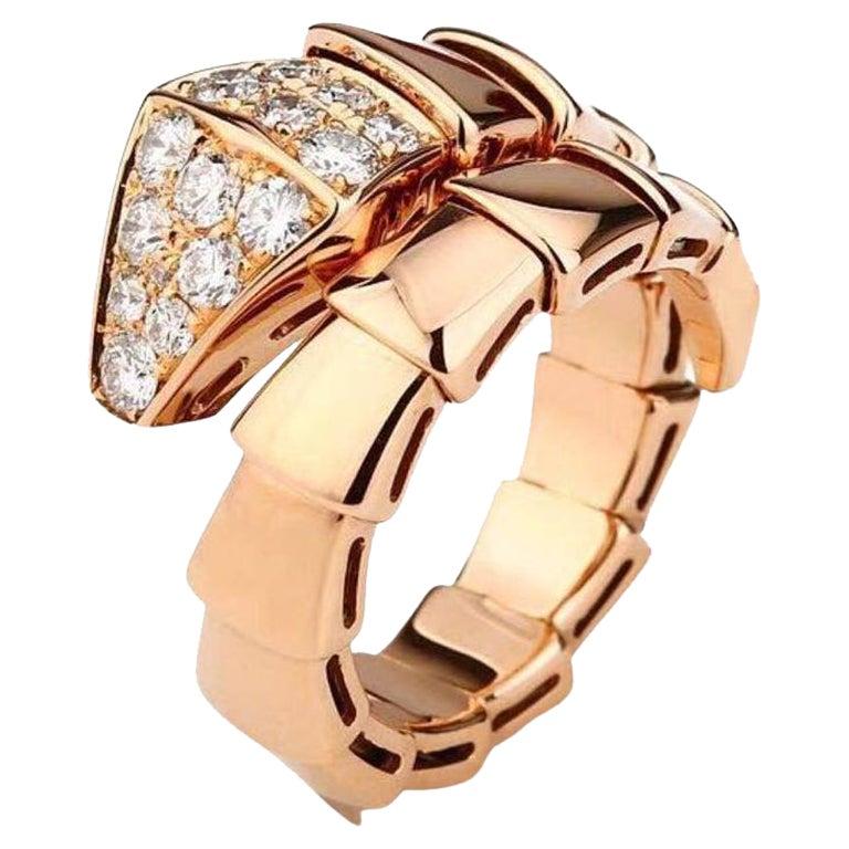 Bulgari Rose Gold Diamond Serpenti Ring Size L For Sale