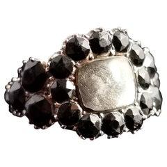Antique Georgian Jet Mourning Ring, 12 Karat Gold, Hairwork