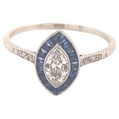 Art Deco Style Marquise Diamond Sapphires Platinum Ring