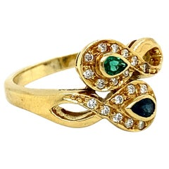 Vintage 18K Yellow Gold Emerald, Sapphire, and Diamond Ring by H. Stern