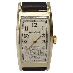 Art Deco Gents 10k R Gold Wristwatch by Bulova, 'Minute Man' c1937, Serviced