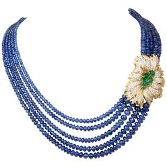 Brilliant Sapphire Beaded Necklace with Emerald Diamond Gold Floral Motif Clasp