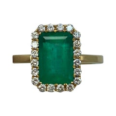 GIA Certified Fine Green 3.06ct Colombian Emerald & Diamond 18k Gold Halo Ring
