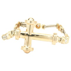 14 Karat Yellow and White Gold Bezel Set Diamond Cross Bracelet