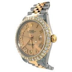 Rolex DateJust Mens Yellow Gold Steel Jubilee 3 CT Diamond Dial Watch 16013