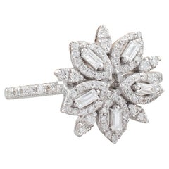 Flower Diamond 10 Karat Gold Diamond Ring