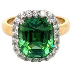 Cushion Cut Tourmaline and Diamond Ring