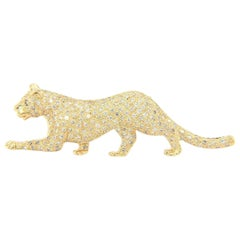 Le Vian Pave Diamond Panther Brooch in 14K Yellow Gold