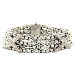 David Yurman Diamond Double X Station Bracelet in Sterling Silver