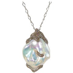 Naomi Sarna Diamond Pearl Labradorite Gold Necklace