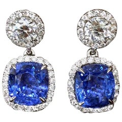 Unique GIA Natural No Heat Ceylon Cushion Sapphire and Diamond Earrings