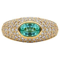 Mark Henry 1.08 Carat Paraiba Tourmaline and Diamond Signet Ring, 18 Karat YG