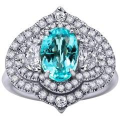 Mark Henry 2.10 Carat Paraiba Tourmaline and Diamond Signet Ring, 18 Karat WG