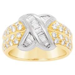 18 Karat Yellow Gold Baguette & Round 1 Carat Diamond Bow Ring