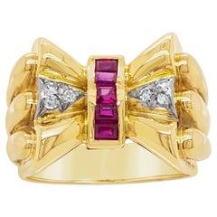 18 Karat Rose Gold & Platinum Ruby & Diamond Bow Ring