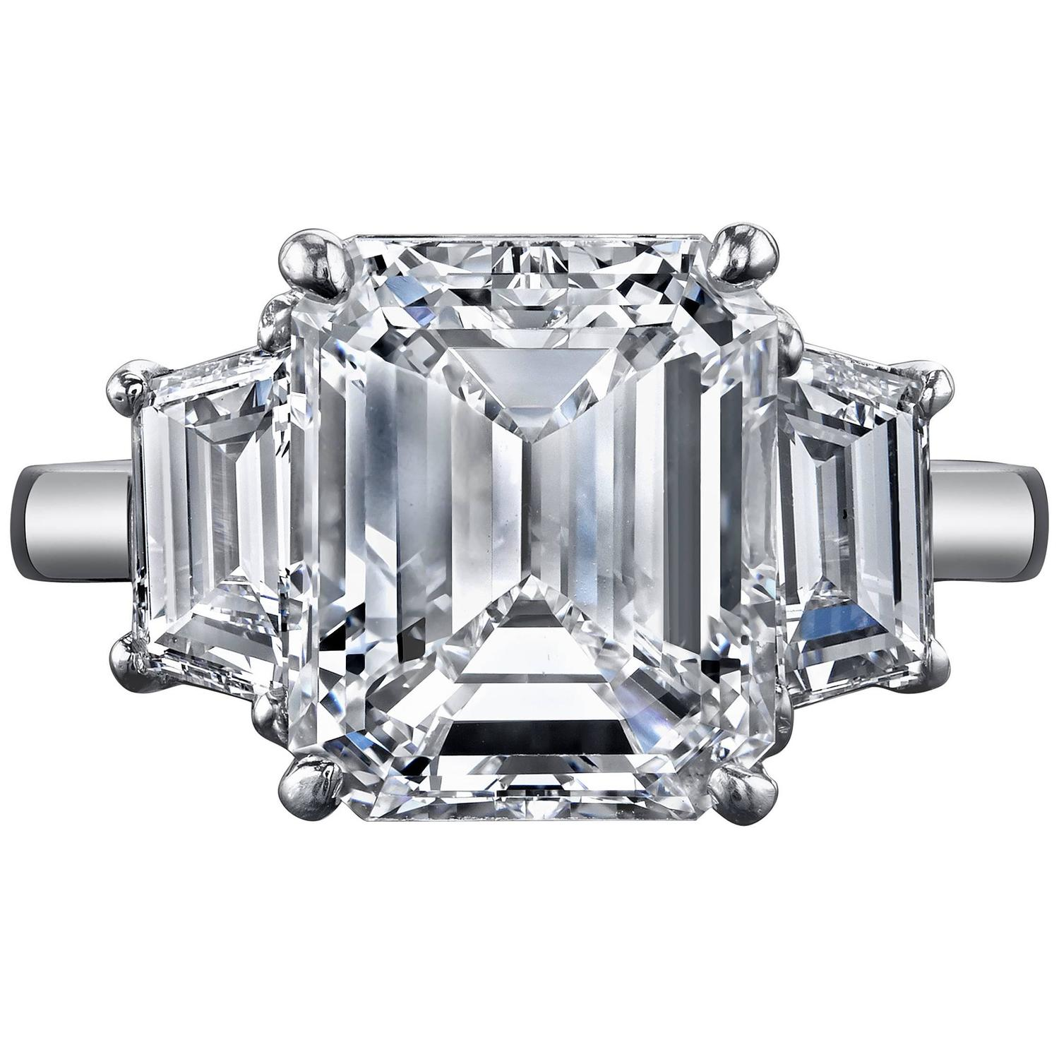 5 08 Carat GIA Cert Emerald Cut Diamond Platinum Three Stone Engagement Ring