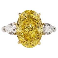 Scarselli 5 Plus Fancy Vivid Yellow Diamond Engagement Platinum Ring