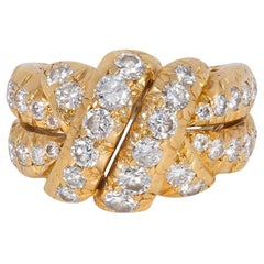 Van Cleef & Arpels, France Estate Gold and Diamond Ring of Knotted Design