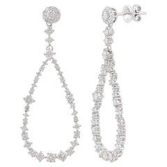 1.83 Carat Diamond 10 Karat Gold Negative Space Drop Earrings