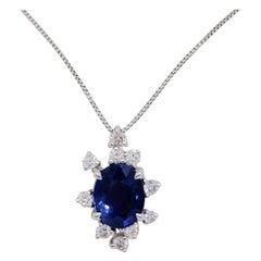 AIGS Unheated Sri Lanka Blue Sapphire and Diamond Pendant Necklace