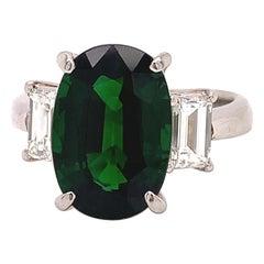 Estate Tourmaline, Diamond and Platinum Three Stone Ring