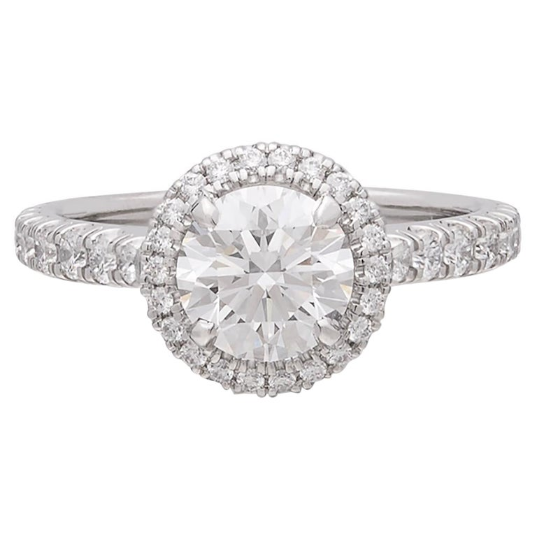 Exceptional Estate Diamond Platinum Engagement Ring by Cartier For Sale