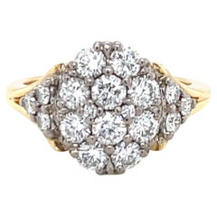 Vintage Jabel Diamond 18k Gold Cluster Ring