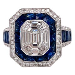 Sapphire and Diamond 18K White Gold Art Deco Vintage Inspired Ring