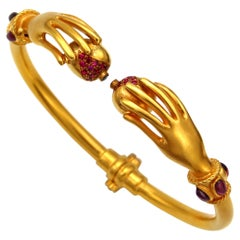 22k Gold Bracelet with Pomegranates Rubies and Sapphire