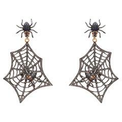 Diamond Sapphire Gold Silver Earring