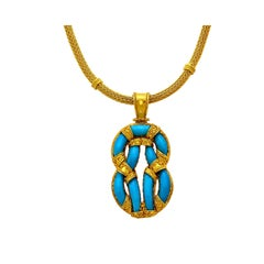 Dimos 18k Gold Knitted Necklace with Hercules Knot Pendant