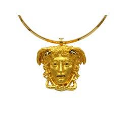 Dimos 18k Gold Ancient Greek Medusa Pendant with Diamonds