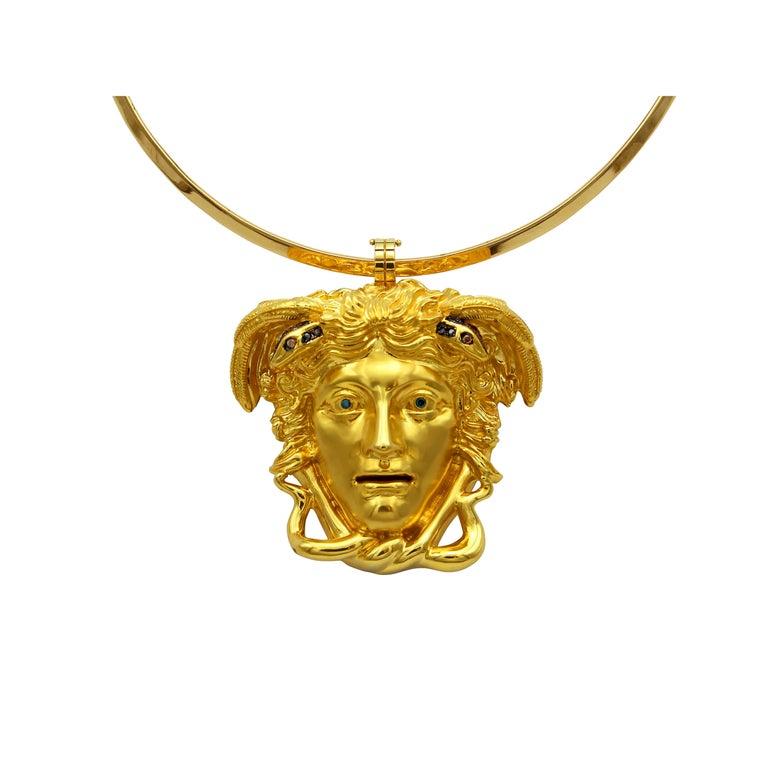 Dimos 18k Gold Ancient Greek Medusa Pendant with Diamonds For Sale