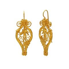 Dimos 22k Gold Ancient Greek Eros Earrings