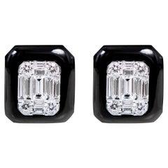 18 Karat White Gold 2.85 Carat Diamond and Black Onyx Stud Earrings