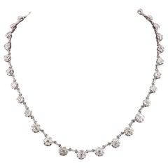 Platinum Old Cut Diamond Necklace, Circa 1935