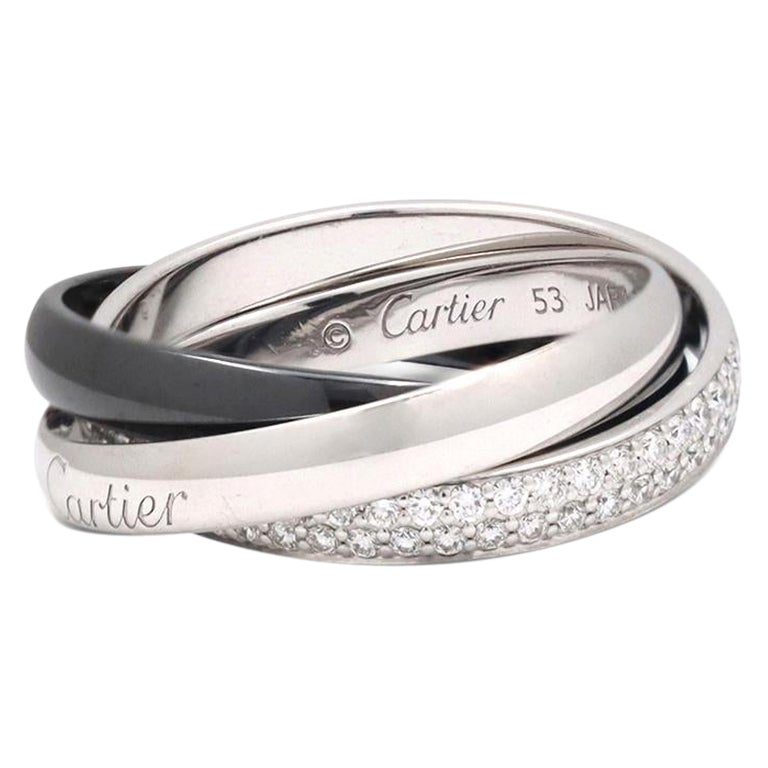 Cartier Trinity White Gold, Ceramic and Diamond Pave Rolling Ring For Sale