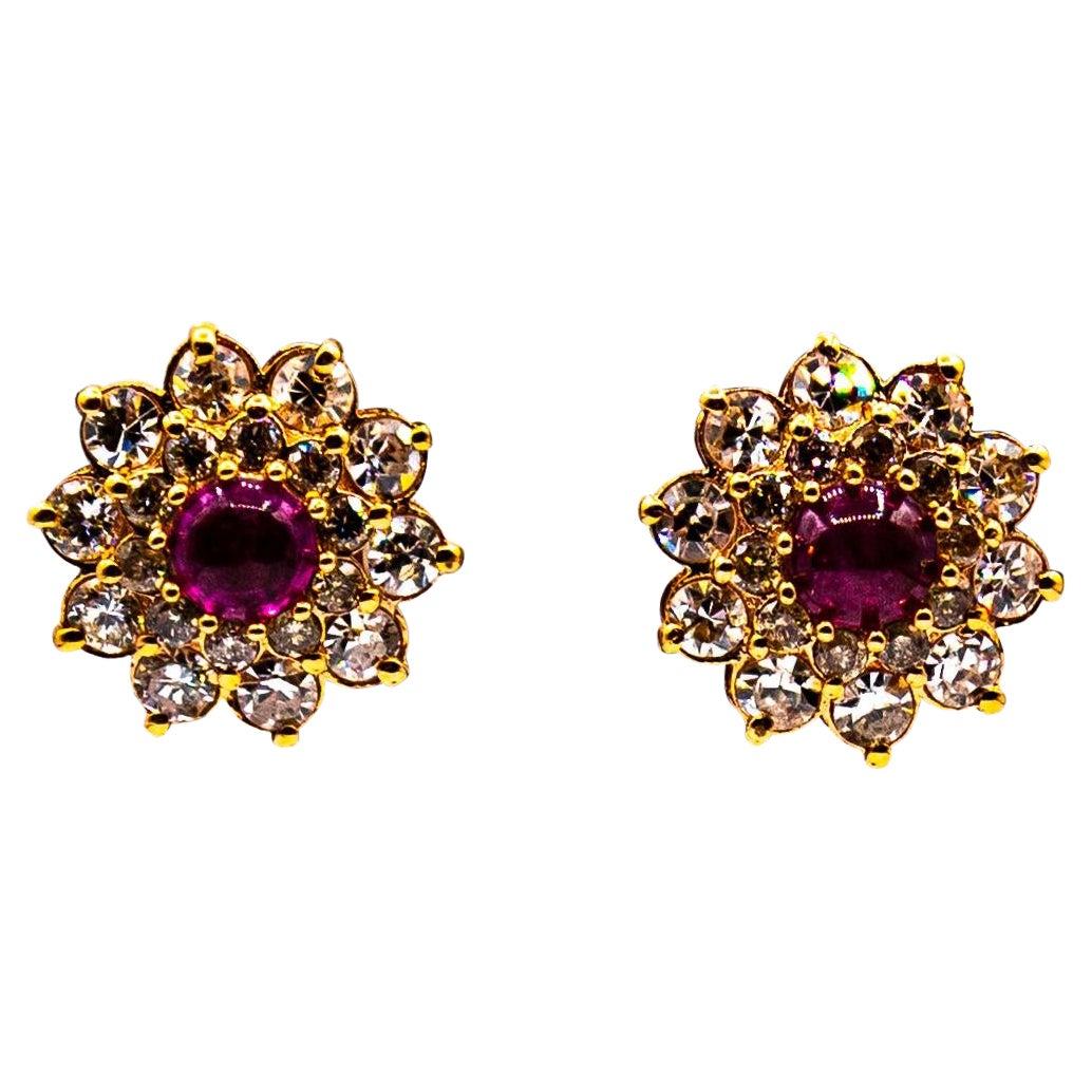 Art Deco Style White Brilliant Cut Diamond Ruby Yellow Gold Stud Dangle Earrings