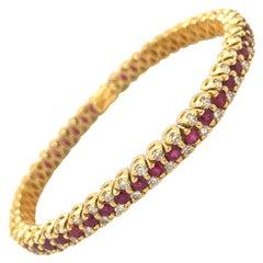18KT Yellow Gold Diamond 3.24Ct. & Ruby 5.18Ct. Tennis Bracelet